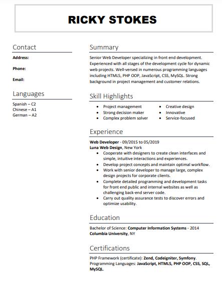 formal resume format