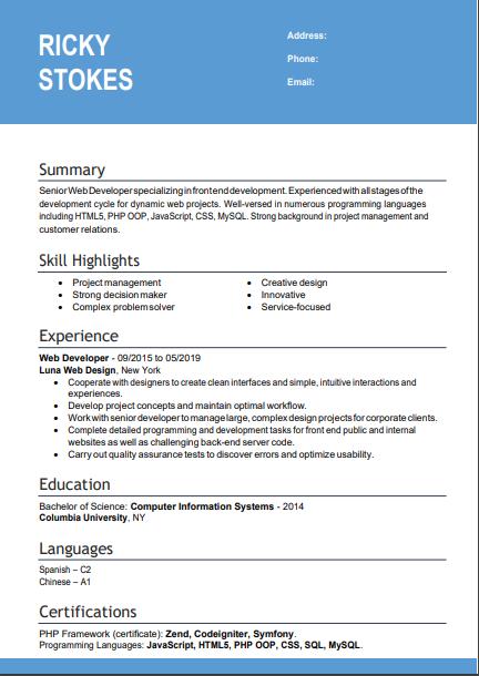 formal resume sample
