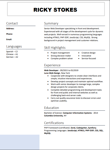 resume sample word