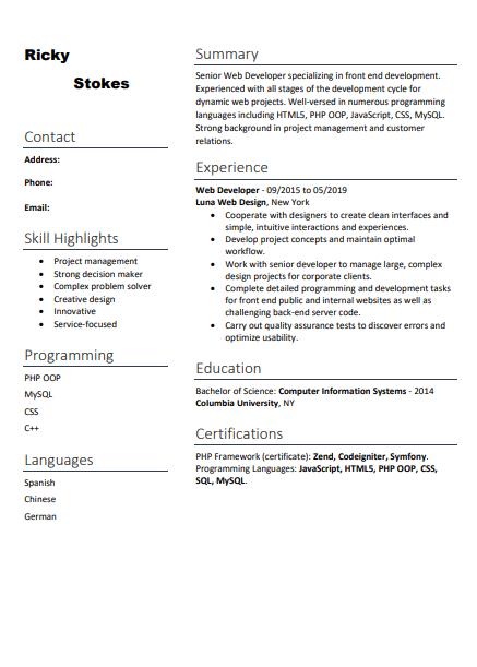informal resume