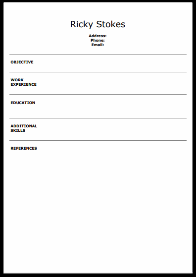 What Is Blank Resume Templates And Format Of Blank Resume
