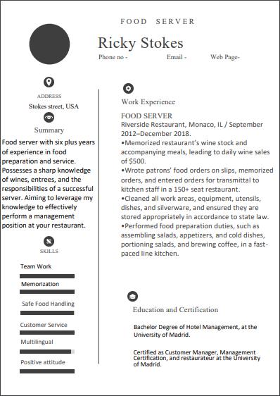 food service resume