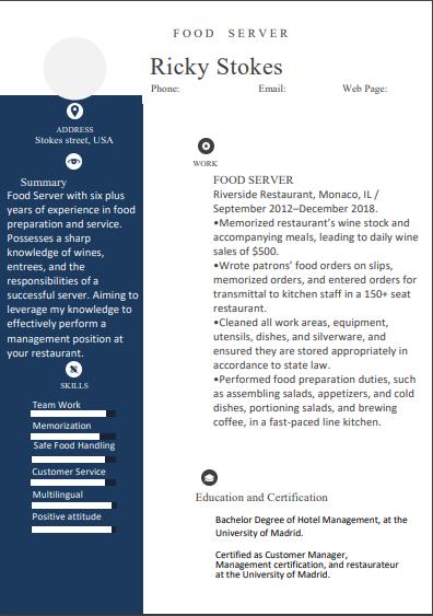 food service skills for resume