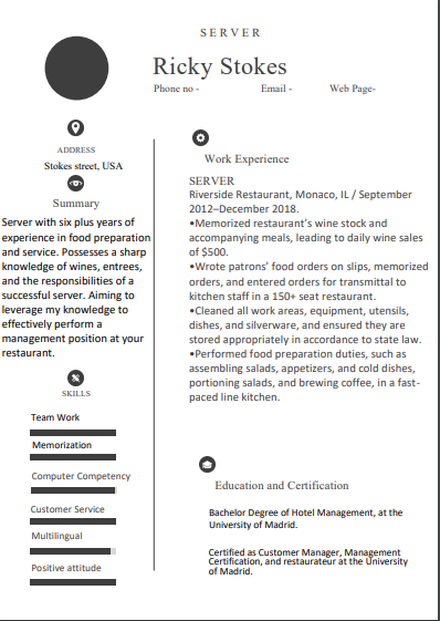 Best Eye Catching Server Resume Examples And Templates 2020