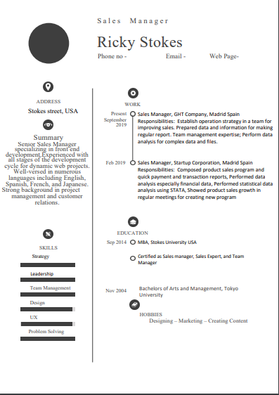 Best Sales Manager Resume Format With Suitable Examples