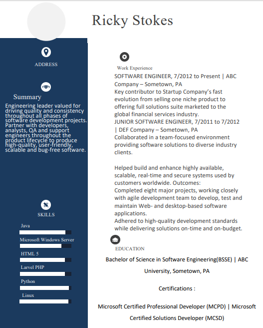 Best Software Engineer Resume Format With Examples