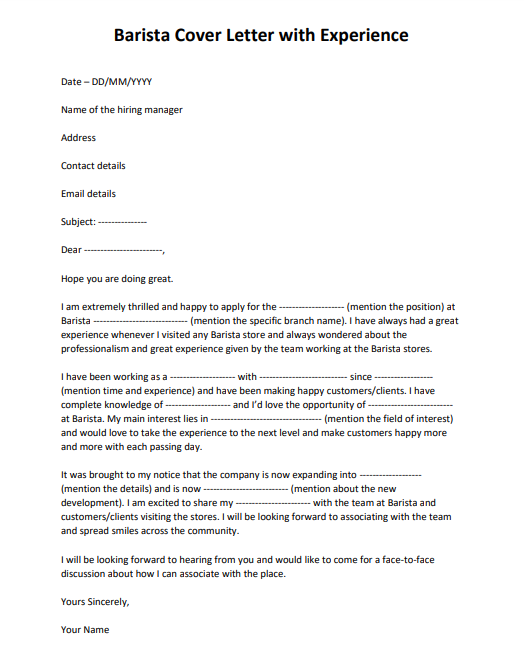 barista cover letter no experience