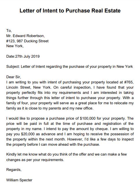 loi real estate