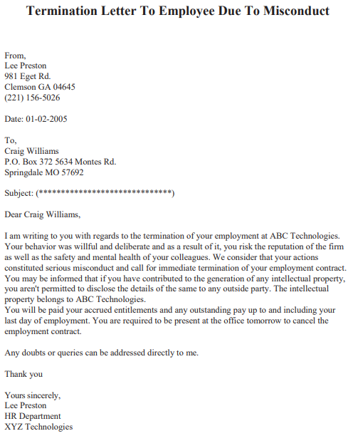 Sample Letter Of Termination Of Employment By Employer from www.lettertemplatesformat.com