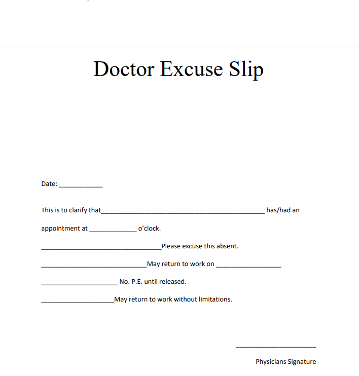 Free Blank Editable Doctors Note Templates And Format