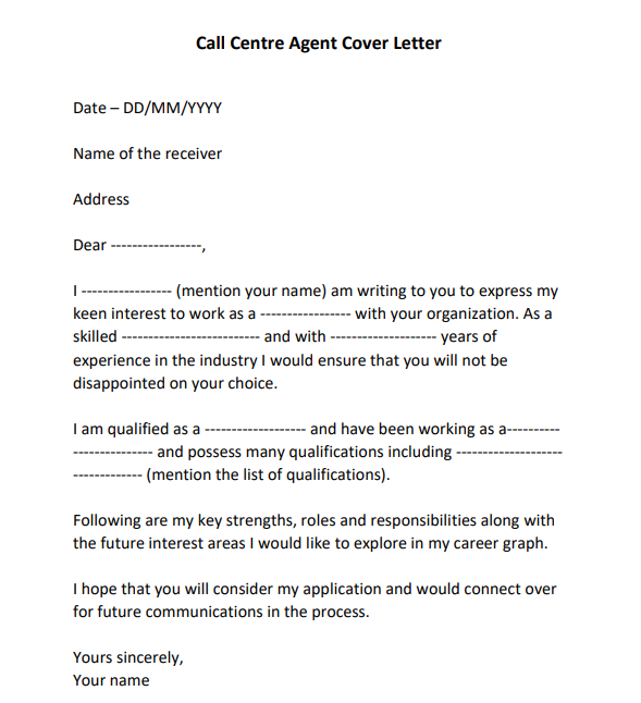 application letter for call center agent