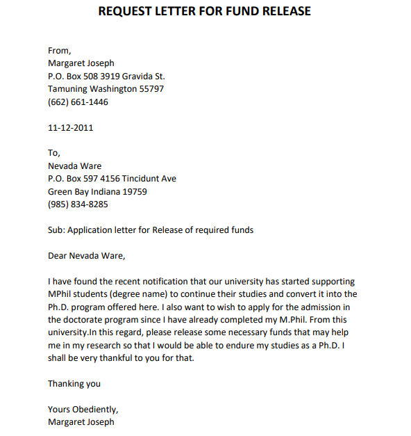 sample letter requesting funds
