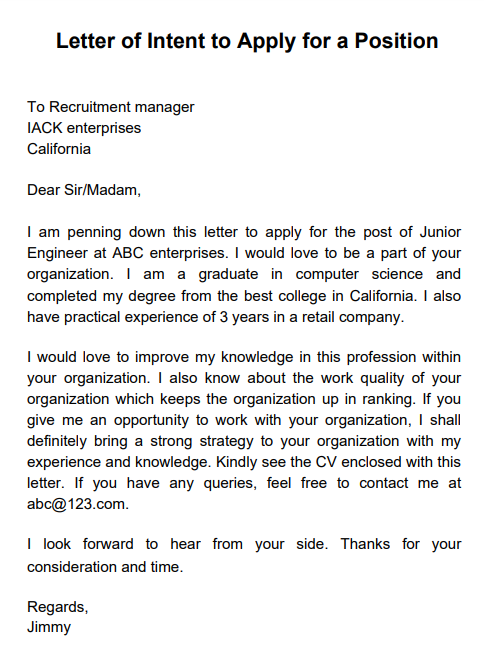sample letter of intent for promotion within company
