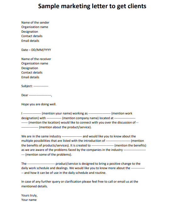 sample marketing letters to potential clients