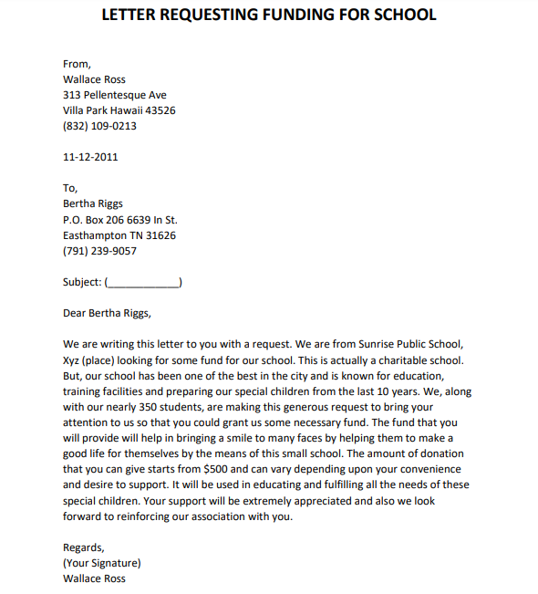funding request letter for small business