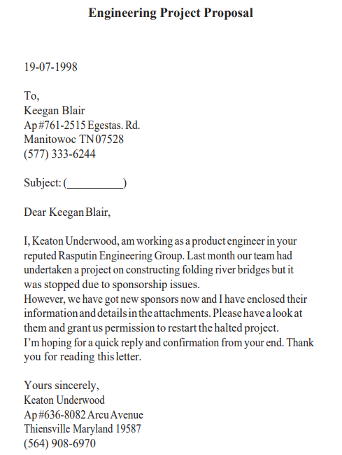 business proposal letter sample pdf