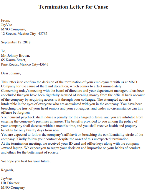 dismissal letter for misconduct