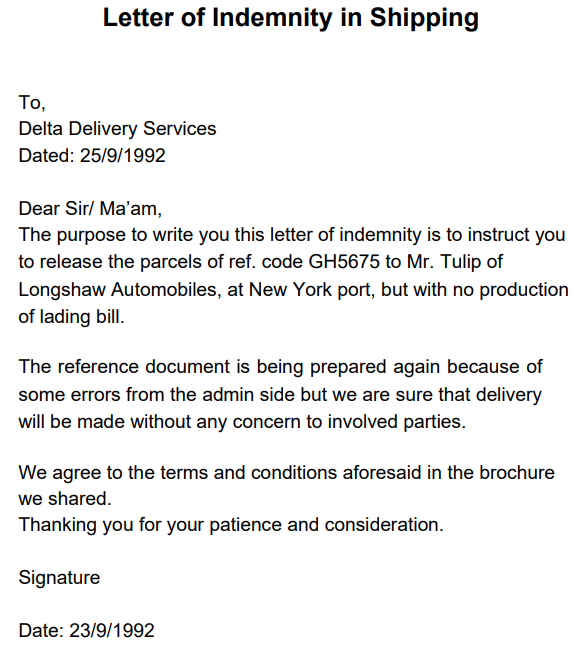 letter of indemnity shipping