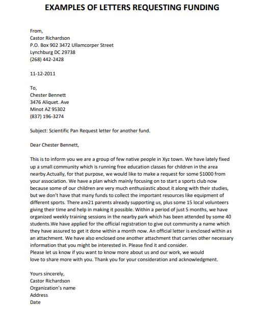 Sample Funding Request Letter from www.lettertemplatesformat.com