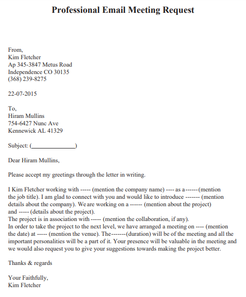 Letter Requesting A Meeting from www.lettertemplatesformat.com