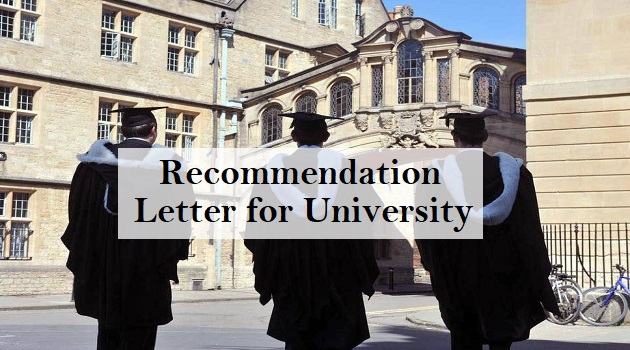 recommendation letter for university