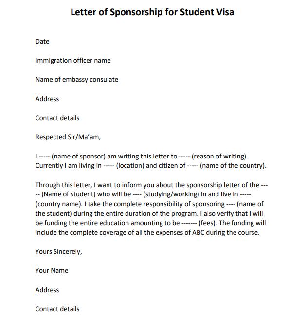 sponsorship letter for visa from company