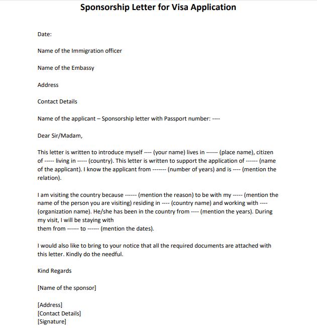 sample sponsorship letter for visa