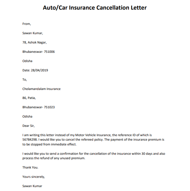 health insurance cancellation letter
