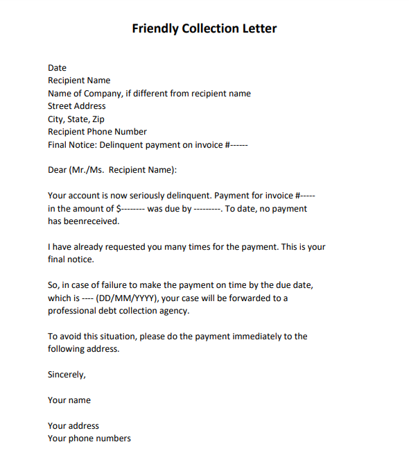 debt collection letter sample