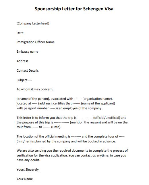 sponsorship letter for tourist visa