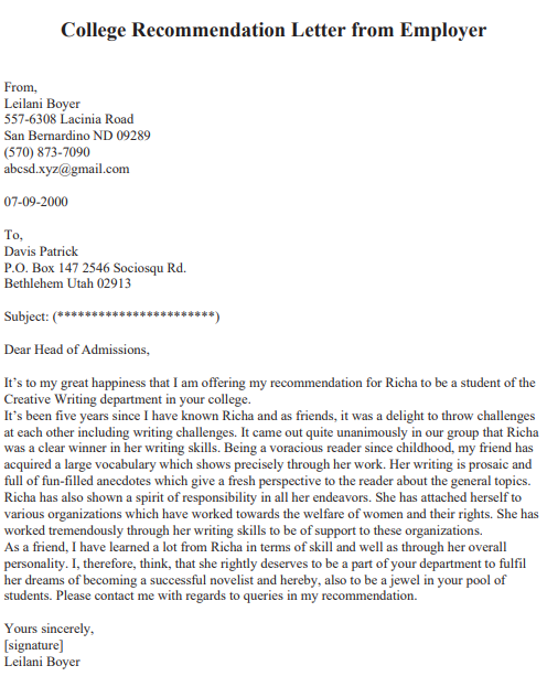 recommendation letter from employer to university